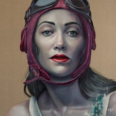 Pilot Girl Revisited II, oil on linen, 92x92cm