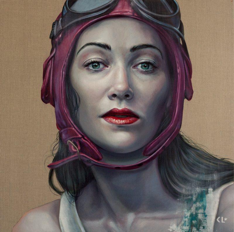 Pilot Girl Revisited II, oil on linen, 92x92cm
