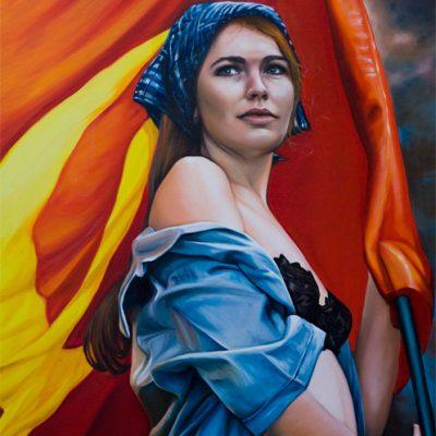 Flag Girl, oil on canvas, 92x122cm