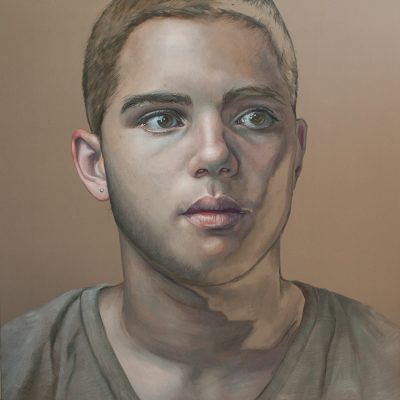 Float like a Butterfly – Portrait of a Young Boxer, 180x180cm