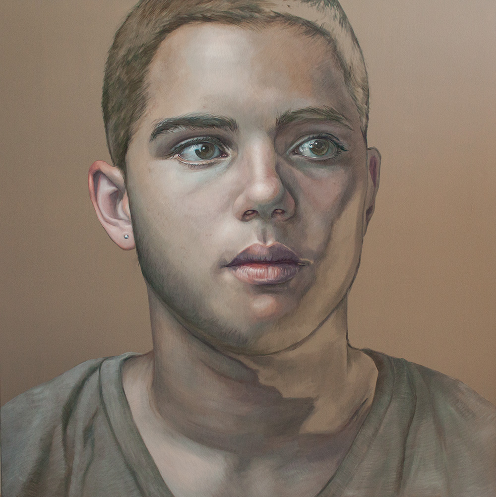 Float like a Butterfly – Portrait of a Young Boxer, 180x180cm, SOLD