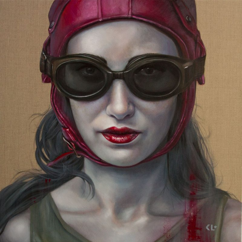 Pilot Girl Revisited IV, oil on linen, 92x92cm, SOLD