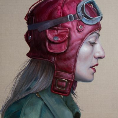 Pilot Girl Revisited VIII, oil on linen, 92x92cm