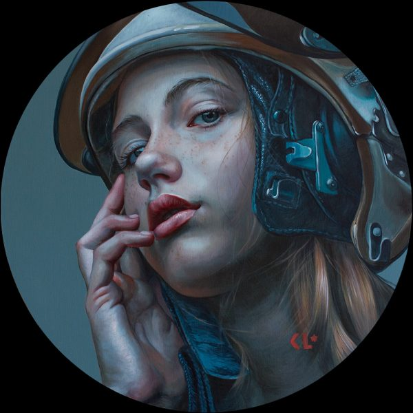 "So long Baby, oil on linen on ACM panel, 24"" diameter"