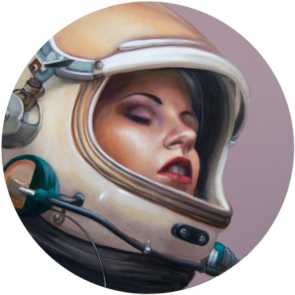 2019, oil on wood panel, 50cm diameter, available from Artsy