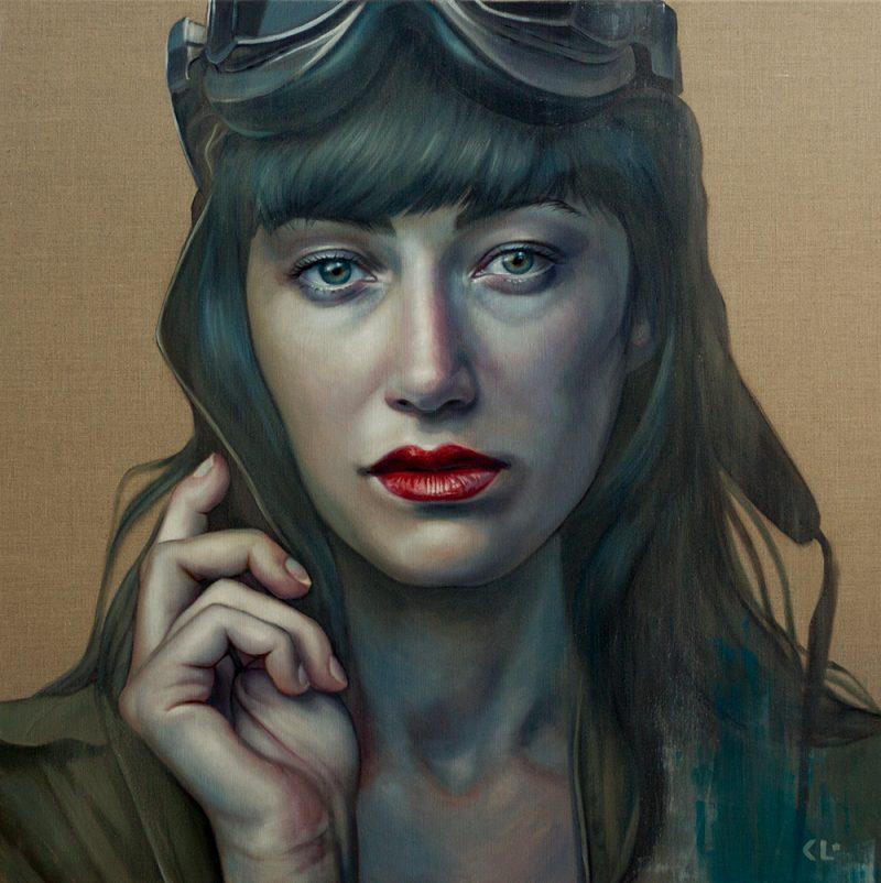 Pilot Girl Revisited , oil on linen, 92x92cm, SOLD
