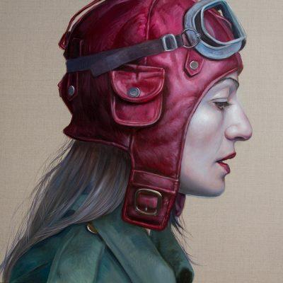 Pilot Girl Revisited VIII, oil on linen, 92x92cm