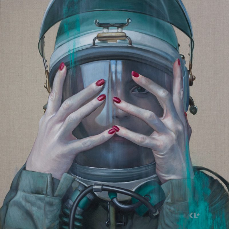 Pilotgirl Revisited VII, oil on linen, 91x91cm, SOLD
